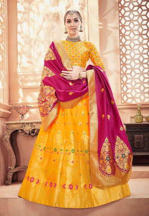 Woven Art Silk Jacquard Lehenga in Yellow
