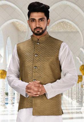 Woven Art Silk Jacquard Nehru Jacket in Antique