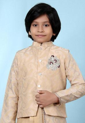 Woven Art Silk Jacquard Nehru Jacket in Beige