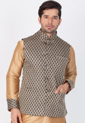 Woven Art Silk Jacquard Nehru Jacket in Black and Gold