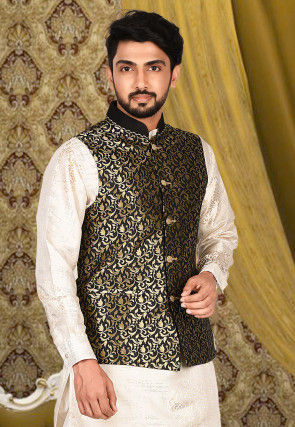 Woven Art Silk Jacquard Nehru Jacket in Black and Golden