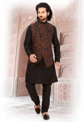 Woven Art Silk Jacquard Nehru Jacket in Brown