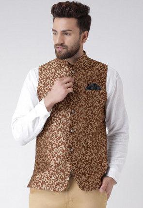 Woven Art Silk Jacquard Nehru Jacket in Brown