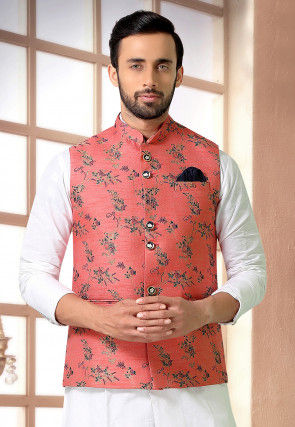 Woven Art Silk Jacquard Nehru Jacket in Coral Red