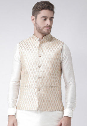 Woven Art Silk Jacquard Nehru Jacket in Cream