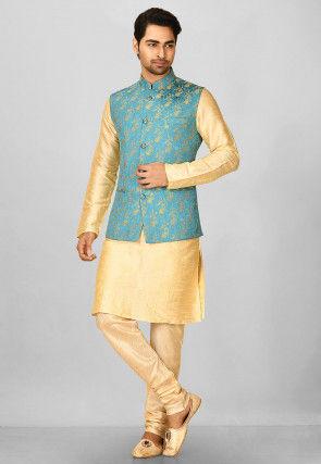 Woven Art Silk Jacquard Nehru Jacket in Light Blue