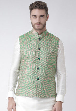Woven Art Silk Jacquard Nehru Jacket in Light Green