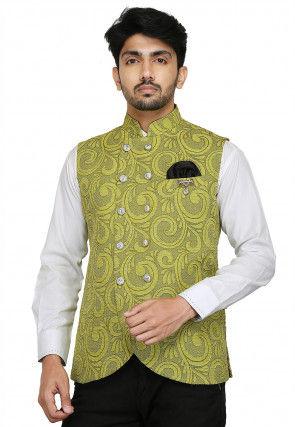 Woven Art Silk Jacquard Nehru Jacket in Light Green