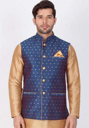 Woven Art Silk Jacquard Nehru Jacket in Navy Blue