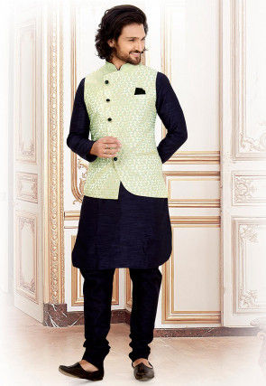 Woven Art Silk Jacquard Nehru Jacket in Off White and Light Blue