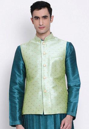 Woven Art Silk Jacquard Nehru Jacket in Pastel Green