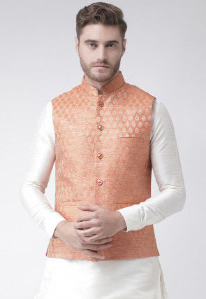Woven Art Silk Jacquard Nehru Jacket in Peach