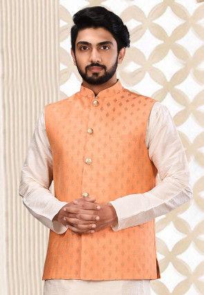 Woven Art Silk Jacquard Nehru Jacket in Peach