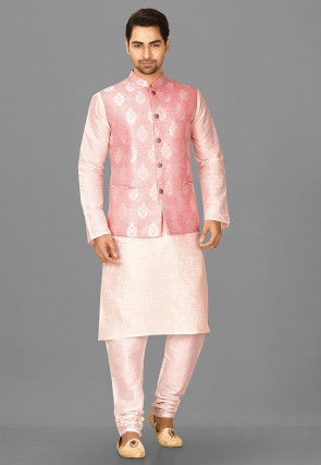 Woven Art Silk Jacquard Nehru Jacket in Pink