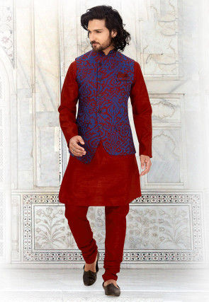Woven Art Silk Jacquard Nehru Jacket in Royal Blue and Red