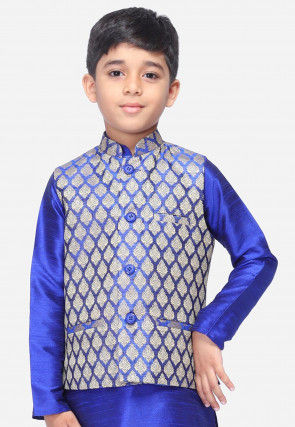Woven Art Silk Jacquard Nehru Jacket in Royal Blue