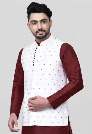 Woven Art Silk Jacquard Nehru Jacket in White
