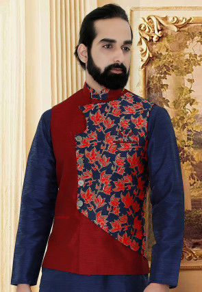 Woven Art Silk Jacquard Over Lapped Jacket in Red and Blue