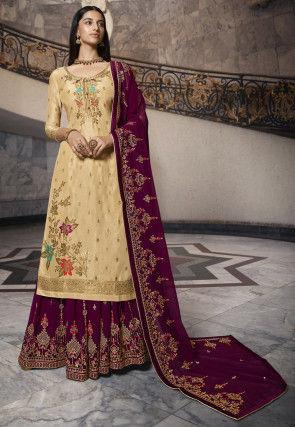 Woven Art Silk Jacquard Pakistani Suit in Beige