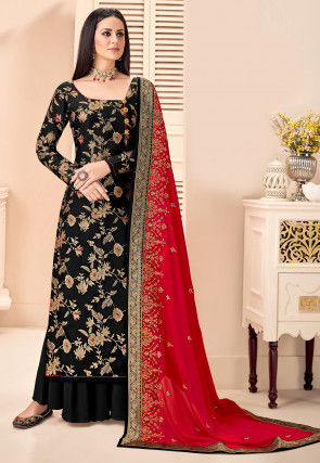 Woven Art Silk Jacquard Pakistani Suit in Black