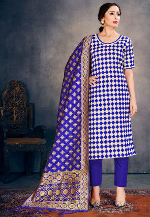 Woven Art Silk Jacquard Pakistani Suit in Blue and White