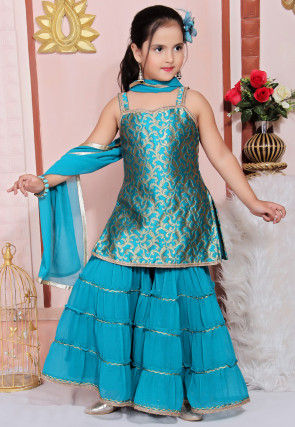 Woven Art Silk Jacquard Pakistani Suit in Blue