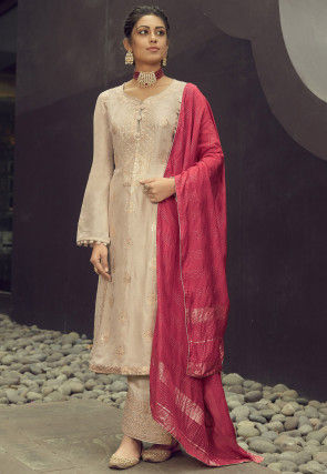 Woven Art Silk Jacquard Pakistani Suit in Cream