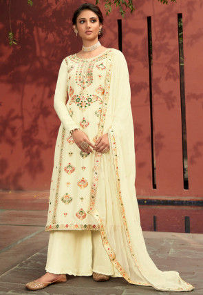 Woven Art Silk Jacquard Pakistani Suit in Cream