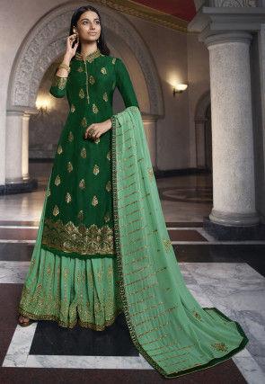 Woven Art Silk Jacquard Pakistani Suit in Dark Green