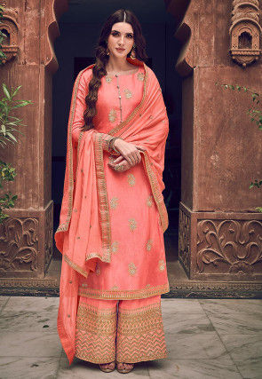 Woven Art Silk Jacquard Pakistani Suit in Dark Peach