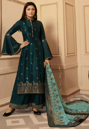 Woven Art Silk Jacquard Pakistani Suit in Dark Teal Green
