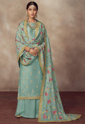 Woven Art Silk Jacquard Pakistani Suit in Dusty Blue