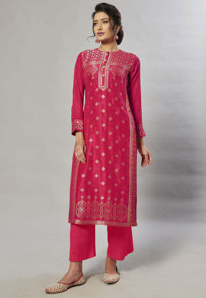 Woven Art Silk Jacquard Pakistani Suit in Fuchsia