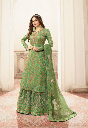 Woven Art Silk Jacquard Pakistani Suit in Green
