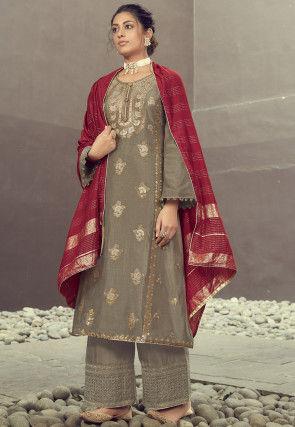 Woven Art Silk Jacquard Pakistani Suit in Grey