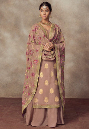 Woven Art Silk Jacquard Pakistani Suit in Light Old Rose