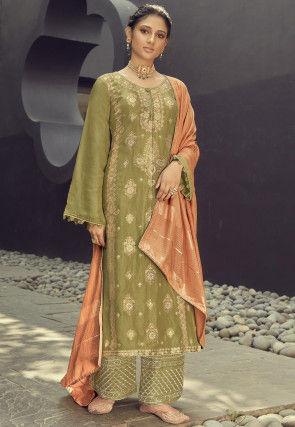 Woven Art Silk Jacquard Pakistani Suit in Light Olive Green