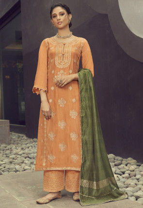 Woven Art Silk Jacquard Pakistani Suit in Light Orange