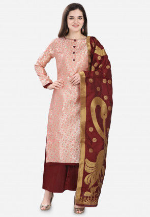 Woven Art Silk Jacquard Pakistani Suit in Light Peach