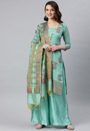 Woven Art Silk Jacquard Pakistani Suit in Light Turquoise