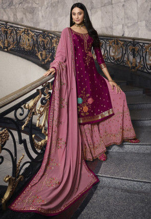 Woven Art Silk Jacquard Pakistani Suit in Magenta