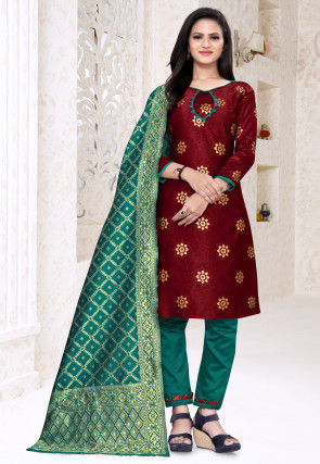 Woven Art Silk Jacquard Pakistani Suit in Maroon