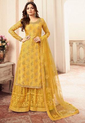 Woven Art Silk Jacquard Pakistani Suit in Mustard