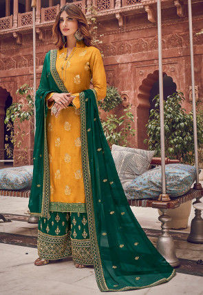 Woven Art Silk Jacquard Pakistani Suit in Mustard