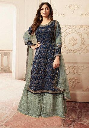 Woven Art Silk Jacquard Pakistani Suit in Navy Blue