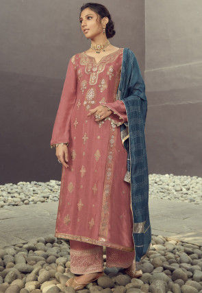 Woven Art Silk Jacquard Pakistani Suit in Old Rose