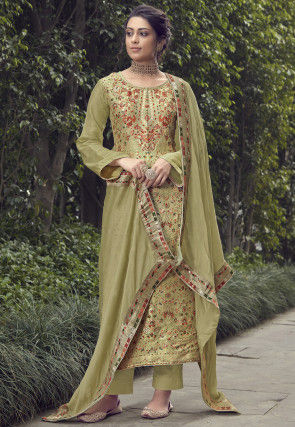 Woven Art Silk Jacquard Pakistani Suit in Olive Green
