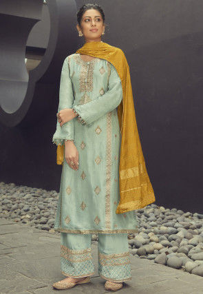 Woven Art Silk Jacquard Pakistani Suit in Pastel Green