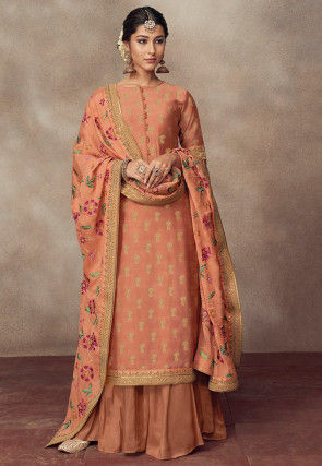 Woven Art Silk Jacquard Pakistani Suit in Peach