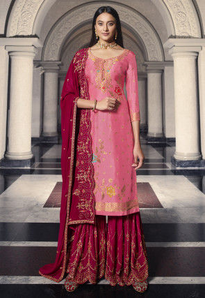 Woven Art Silk Jacquard Pakistani Suit in Pink